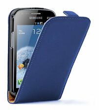 Ultra Slim BLUE Leather case cover for Samsung Galaxy S Duos GT-S7560 +2 FILMS