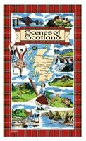 Scenes of Scotland Tea Towel Souvenir Gift Scottish Landmarks Tartan Collage Map