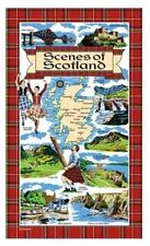 Scenes of Scotland Tea Towels Souvenir Gift Scottish Tartan Cotton Map Elgate