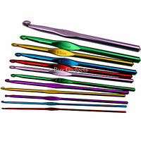 12 SET MULTI COLOURED ALUMINIUM CROCHET HOOKS YARN KNITTING NEEDLES SET 2MM-8MM
