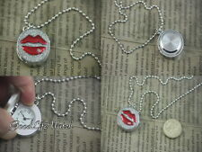 Lips with Crystal Stone Dangle Pendant Watch Necklace Gift Box WNC0019