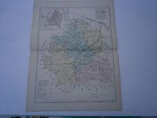 Carte 19° 1852  couleur atlas Malte brun Département de l'Indre plan Chateauroux