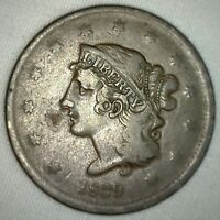 1839 Coronet Large Cent US Copper Type Coin Newcomb Variety N13 Fine Penny m1