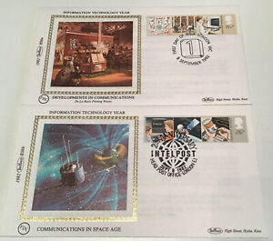 GB QEII 1982 Information Technology Benham FDCs London+Intelpost Unaddressed