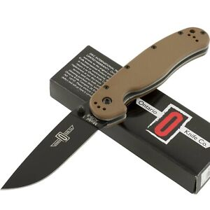 Ontario Coyote Brown RAT 1 AUS-8 Pocket Folding Knife 8846CB Black Plain Edge