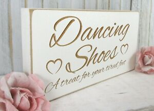 Flip Flops Wedding Sign Dancing Shoes Free Standing Vintage Shabby & Chic White