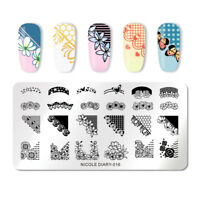 NICOLE DIARY Nagel Schablone Rectangle Butterfly Nail Art Stamping Plates ND-016