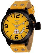 Minoir Uhren Modell Barentin schwarz / gelb XL Herrenuhr Automatikuhr