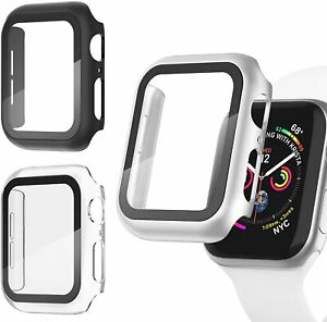 3 Pack Apple Watch Screen Protector Case 4 5 6 SE Scratch Resistant Black Silver