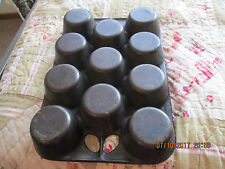 Vintage Cast Iron 11 Cup Muffin Pop-Over Pan Marked A