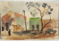 Vintage Watercolor Painting Street Scene circa 1959-1960