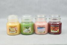 4x Yankee Candle Medium Jar 411g Vanilla Lime Pink Sands Cupcake Black Cherry