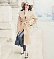 Ladies Womens Long Autumn Winter Belted Waterfall Trench Duster Wrap Jacket Coat