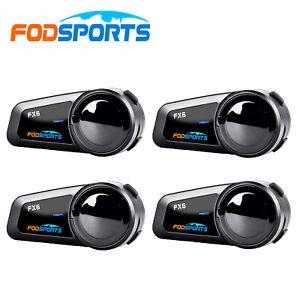 4x FODSPORTS FX6 Bluetooth Intercom 6 Way Motorcycle Helmet Headset Interphone