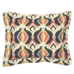 Boho Abstract Modern Black Purple Yellow Coral Cream Pillow Sham by Roostery