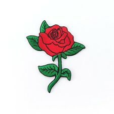 Embroidered Iron On Patch Red Rose Flower Floral Cute Badge Fabric Sew Craft DIY