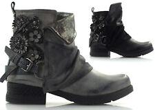 Damen Stiefeletten Boots Biker Booties Winterschuhe Schuhe Blümchen Schnalle