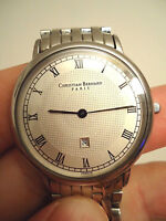 "RARE! ""CHRISTIAN BERNARD"" ULTRA THIN WRIST WATCH, SAPHIR CRISTALL, FULL ORIGINAL"