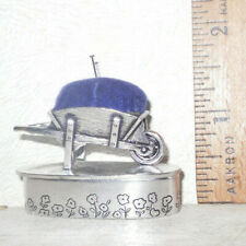 VTG Silver Scene Plated Pill Trinket Box w/Miniature Wheelbarrow Pin Cushion Top