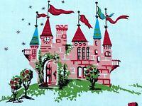 50s Cinderella Story on Cotton Barkcloth Era Vintage Fabric Unused Nursery Rhyme