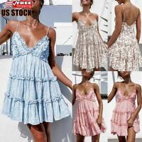 Women's Boho Floral Casual Swing Sundress Ladies V Neck Holiday Party Mini Dress