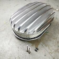 """Chrm 12"""" Oval Deep Full Finned Air Cleaner & Element SBC BBC SBF Ram Jet 350 LS"""
