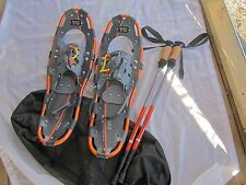 Yukon Charlies 825 Snowshoes Kit With Poles Black Canvas Carry Bag EUC