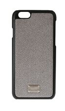 NEW $160 DOLCE & GABBANA Phone Case Silver Dauphine Leather Logo Cover iPhone6