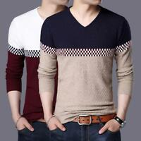 New Autumn Fashion Men Long Sleeve Sweater V-Neck Soft Cotton T-shirt Tops 3XL