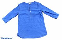 Woman's J.JILL Blue 3/4 Sleeve Blouse Top Shirt 100% Cotton Petite Size XS P
