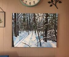 Original, Hand painted, Winter Forest Painting,18x24, Snow, Trees, Sunshine,