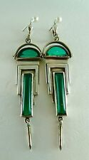 Spectacular ART DECO Antique Silver & Green Paste Earrings Hallmarked 925 LOVELY