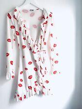 Asos Red White Lipa Kiss Print Ruffle Wrap Long Sleeve Dress Size 10