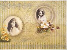 Rice Paper for Decoupage, Scrapbook Sheet, Girls with flowers Ochre