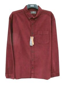 Marks & Spencer Red Corduroy Shirt Size 2XL in Pure Cotton