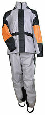 MOTORCYCLE RAIN SUIT RAIN GEAR UNISEX BLACK AND GRAY HOODED  XL