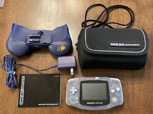 Nintendo Game Boy Advance Glacier Blue AGB-001 Tested Bundle Travel Bag Grip