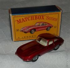 1960s.LESNEY.Matchbox.32 E Type Jaguar .WIRE WHEELS.MINT IN BOX.ALL ORIGINAL