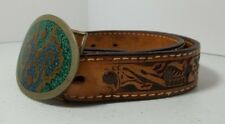 "Brown Tooled Leather Western Style Child's Belt With Buckle Size 28"" Joshua"