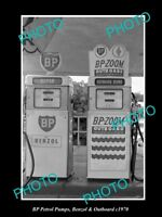 OLD LARGE HISTORIC PHOTO OF THE BP OIL PETROL PUMPS, BENZOL & OUTBOARD c1970