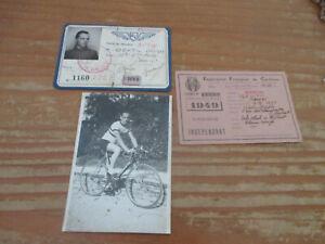 2 cartes et une photo photographie d un cycliste années 40 cyclime vélo course