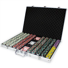 New 1000 Monaco Club 13.5g Clay Poker Chips Set with Aluminum Case - Pick Chips!