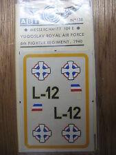 1/72 ABT DECAL N°138 MESSERSCHMITT 109 E ROYAL AIR FORCE YOUGOSLAVIE 1940