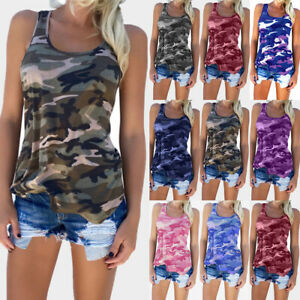 UK Womens Sleeveless Camouflage Vest Tops Ladies Casual Loose T Shirt Plus Size