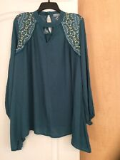 New Unity World - Teal/Multi Color  Women Tunic Top Plus Size 0X($52)