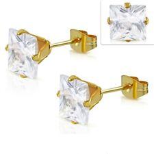 Edelstahl Ohrringe 4mm Ohrstecker Zirkonia Stainless steel earrings y-xry750