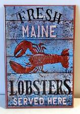 "Vintage Weathered FRESH MAINE LOBSTERS Sign 2"" x 3"" Fridge MAGNET  New England"