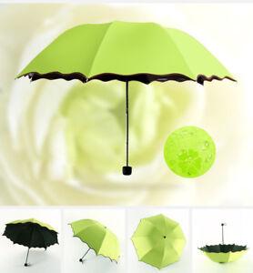 Women Color Changing Magic Umbrella Sun/Rain Protection Folding Anti-UV Parasol