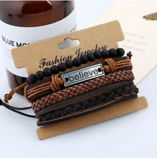 4pc Believe Adjustable Leather Tie Bracelets Charm Braided Men Women Unisex Gift