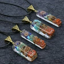 Natural Chakra Reiki Healing Pendant Necklace Colorful Chips Stone Energy Unisex